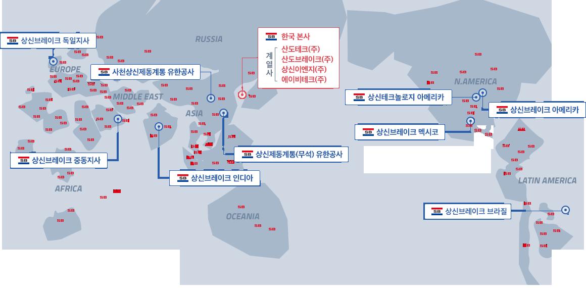 글로벌 네트워크 상신브레이크 이미지 : 한국본사 / 상신제동계통(무석)유한공사 / 사천상신제동계통 유한공사 / 상신브레이크 인디아 / 상신브레이크 중동지사 / 상신브레이크 아메리카 / 상신브레이크 멕시코 / SANGSIN TECHNOLOGY AMERICA(U.S.A)
