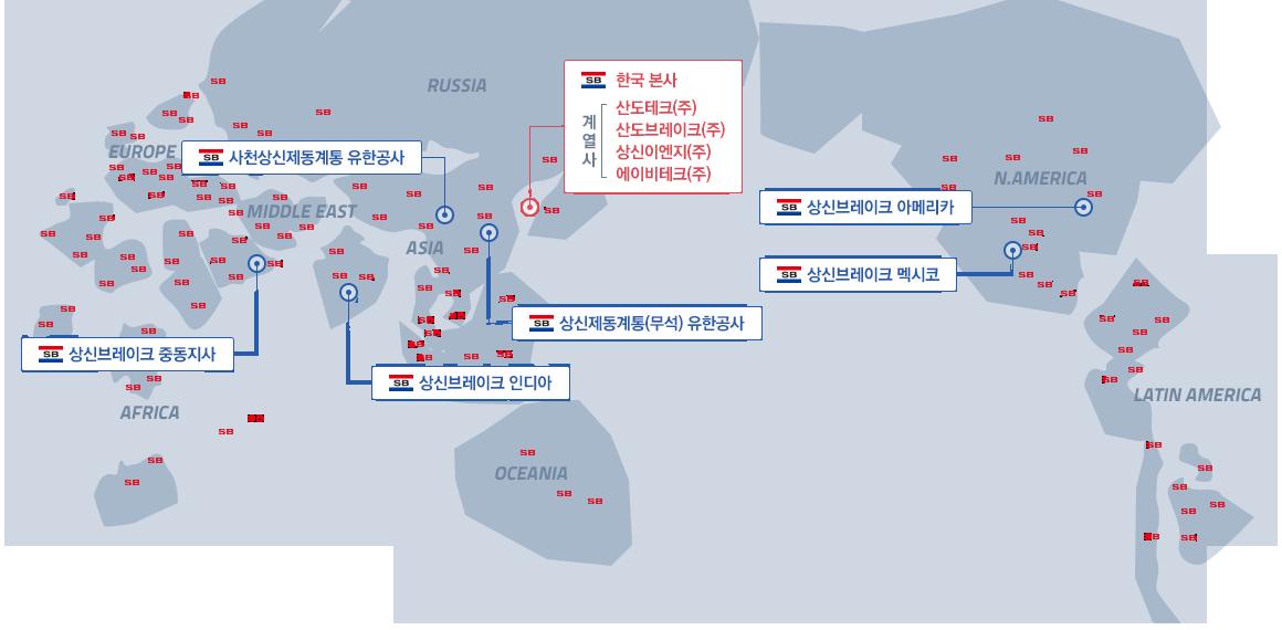 글로벌 네트워크 상신브레이크 이미지 : 한국본사 / 상신제동계통(무석)유한공사 / 사천상신제동계통유한공사 / 상신브레이크 인디아 / 상신브레이크 중동지사 / 상신브레이크 아메리카